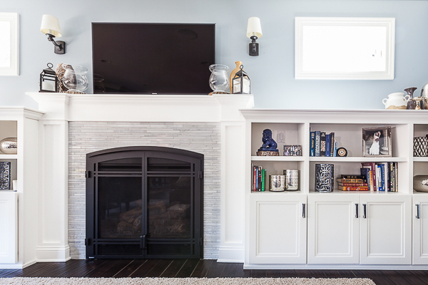 Shaker Fireplace Surround And Bookcase Cabinetry In Elmhurst