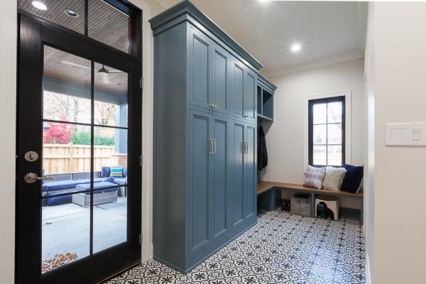 L Shape Mudroom Locker Cabinet Walnut Bench Seat Chicago Illinois Wheatland Custom Cabinetry