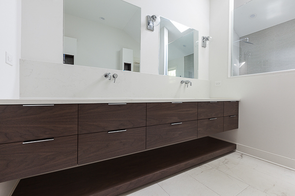 Master Bathroom Modern Floating Walnut Vanity In Clarendon