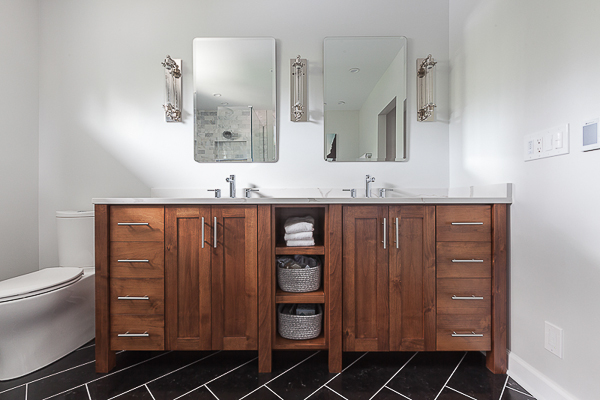 ... Inspired Double Vanity Brings Warmth To The Room With The Alder Wood  (teak Looking Finish), While The Open Shelving And Large Amount Of Storage  Make ...