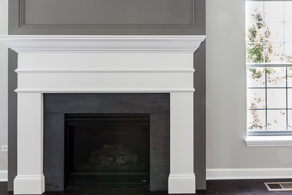 Transitional Gray And White Fireplace Surround In Willow Springs